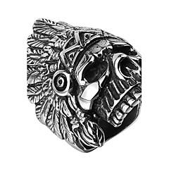 Кольцо Нержавеющая сталь Титановая сталь Серебрянное покрытие В форме черепа Серебряный Бижутерия Halloween Повседневные Спорт 1шт