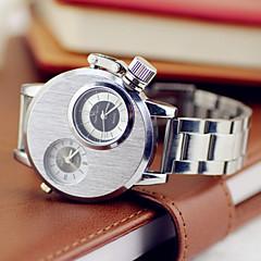 お買い得  メンズ腕時計-V6 男性用 軍用腕時計 日本産クォーツ 2タイムゾーン ステンレス バンド ハンズ シルバー - シルバー