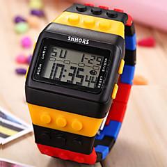 voordelige Sporthorloges-Heren Digitaal Digitaal horloge Polshorloge Alarm Kalender Chronograaf Sporthorloge LCD Plastic Band Amulet Hout Meerkleurig