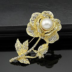 hesapli -Kadın Broşlar Çiçek Stili Çiçekler Çiçekli Moda Kişiselleştirilmiş Euramerican Yapay Elmas alaşım Flower Shape Animal Shape Mücevher