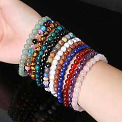 Beadia 1Pc 6mm Round Stone Elastic Strand Bracelet 10 Colors U-Pick