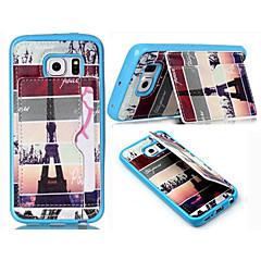 Na Samsung Galaxy Etui Etui na karty / Portfel / Z podpórką / Flip Kılıf Etui na tył Kılıf Wieża Eiffla Skóra PU SamsungS6 edge / S6 / S5