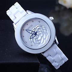 voordelige Bekijk deals-Dames Dress horloge Modieus horloge Kwarts Keramiek Band Bloem Wit Zilver Gouden
