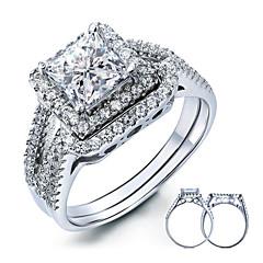 Herrn Damen Eheringe Elegant Sterling Silber Kubikzirkonia Feder Quadatische Form Schmuck Für Hochzeit Party Alltag Normal
