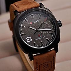 お買い得  メンズ腕時計-CURREN 男性用 リストウォッチ カジュアルウォッチ レザー バンド チャーム ブラウン