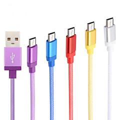 voordelige Telefoonkabels & Adapters-aluminiumlegering hoge kwaliteit 1m micro-usb-kabel voor Samsung mobiele telefoons en andere (verschillende kleuren)