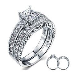 Χαμηλού Κόστους -Δαχτυλίδια Ζευγαριού Ασήμι Στερλίνας Cubic Zirconia Φτερό Round Shape Κομψή Κοσμήματα Γάμου Πάρτι Καθημερινά Causal 2pcs