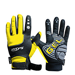 NUCKILY Sports Gloves Bike Gloves Waterproof Windproof Slide-Proof Thermal Yellow Cycling Gloves