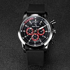 お買い得  メンズ腕時計-V6 男性用 リストウォッチ ラバー バンド ブラック / 2年 / 三菱LR626