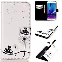 Недорогие Чехлы и кейсы для Galaxy Note 5-Кейс для Назначение SSamsung Galaxy Samsung Galaxy Note Бумажник для карт Кошелек со стендом Флип Чехол одуванчик Кожа PU для Note 5