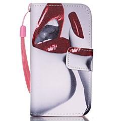 Недорогие Кейсы для iPhone 4s / 4-красный узор губ пу кожаный материал флип карты телефон случае для iphone 4 / 4s