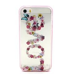 Для Кейс для iPhone 5 Мигающая LED подсветка / Прозрачный / С узором Кейс для Задняя крышка Кейс для Цветы Мягкий TPU iPhone SE/5s/5