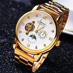 お買い得  大特価腕時計-男性用 機械式時計 自動巻き ゴールド 30 m 耐水 透かし加工 クリエイティブ ハンズ ぜいたく 光沢タイプ - ホワイト ブラック ゴールデン / ステンレス / 模造ダイヤモンド
