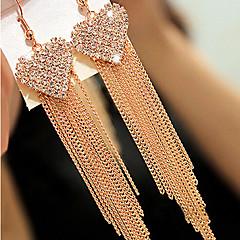 preiswerte Ohrringe-Damen Synthetischer Diamant Quaste Lang Ohrring - Kubikzirkonia, Diamantimitate Herz, Liebe Luxus, Quaste, Retro Golden Für Alltag