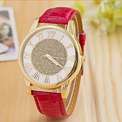preiswerte Tolle Angebote auf Uhren-Damen Modeuhr Leder Band Schwarz / Weiß / Blau