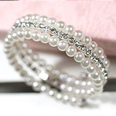 お買い得  ブレスレット-女性用 真珠 レイヤード ラップブレスレット  -  真珠, 人造真珠, ラインストーン 多層式 ブレスレット ホワイト 用途 日常 カジュアル / イミテーションダイヤモンド