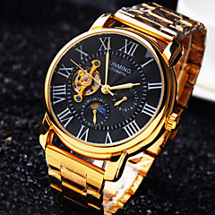 tanie Bestsellery-Męskie Zegarek na nadgarstek zegarek mechaniczny Nakręcanie automatyczne Wodoszczelny Grawerowane Stal nierdzewna Pasmo Ekskluzywne Złoty