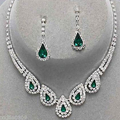 cheap Jewelry Sets-Women's Crystal Jewelry Set - Cubic Zirconia, Imitation Diamond Drop Party, Elegant, Bridal Include Drop Earrings / Pendant Necklace Emerald / Sapphire / Light Olive For Party / Special Occasion