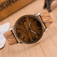 preiswerte Tolle Angebote auf Uhren-Herrn Modeuhr / Uhr Holz Japanisch Armbanduhren für den Alltag PU Band Charme Braun / Grau / Zwei jahr