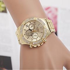 preiswerte Armbanduhren für Paare-Herrn Damen Paar Quartz Simulierter Diamant Uhr Modeuhr schweizerisch Imitation Diamant Designer Edelstahl Band Charme Silber Gold
