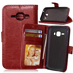 Για Samsung Galaxy Θήκη Θήκη καρτών / Πορτοφόλι / με βάση στήριξης / Ανοιγόμενη tok Πλήρης κάλυψη tok Μονόχρωμη Συνθετικό δέρμα SamsungJ7