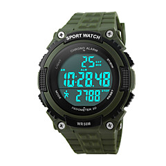 Masculino Relógio Esportivo Relógio de Pulso Digital LED Calendário Cronógrafo Impermeável alarme Relógio Esportivo PU Banda Preta Verde