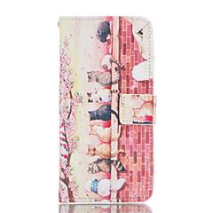 Χαμηλού Κόστους Galaxy A7 Θήκες / Καλύμματα-Για Samsung Galaxy Θήκη Θήκη καρτών / με βάση στήριξης / Ανοιγόμενη / Με σχέδια / Μαγνητική tok Πλήρης κάλυψη tok Γάτα Συνθετικό δέρμα