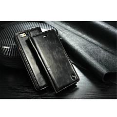 Недорогие Кейсы для iPhone 7 Plus-Кейс для Назначение Apple iPhone X / iPhone 8 / iPhone 7 Бумажник для карт / со стендом Чехол Однотонный Твердый Настоящая кожа для iPhone X / iPhone 8 Pluss / iPhone 8