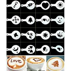 abordables Accesorios para café-Molde de café con leche torta Magdalena plantilla de plantilla café barista capuchino plantilla esparcir almohadilla plumero herramientas de pulverización