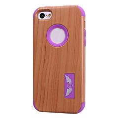шаблоны древесины зерна высокого качества оснастки на обложке случае PC + Силиконовый гибрид комбо брони для iPhone 5с (ассорти цветов)