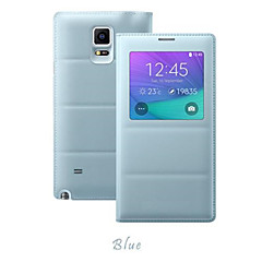 billige Galaxy Note 4 Etuier-Etui Til Samsung Galaxy Samsung Galaxy Note Med vindue Flip Fuldt etui Helfarve PU Læder for Note 4
