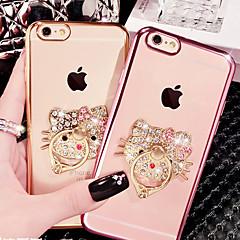 Недорогие Кейсы для iPhone X-Кейс для Назначение Apple iPhone X / iPhone 8 / iPhone 8 Plus Стразы / Покрытие / Кольца-держатели Кейс на заднюю панель Кот Мягкий ТПУ для iPhone X / iPhone 8 Pluss / iPhone 8