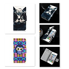 Недорогие Кейсы для iPhone 4s / 4-Кейс для Назначение iPhone 5 Apple Кейс для iPhone 5 Бумажник для карт Флип Чехол Животное Твердый Кожа PU для iPhone SE / 5s iPhone 5