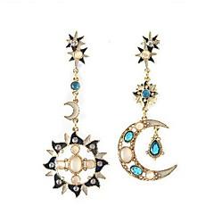 preiswerte Ohrringe-Damen Kristall Nicht übereinstimmend / Kronleuchter Tropfen-Ohrringe - Kubikzirkonia MOON Blau Für