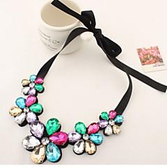 preiswerte Halsketten-Damen Kristall Statement Ketten - Leder Blume Gold, Regenbogen Modische Halsketten Schmuck Für Party