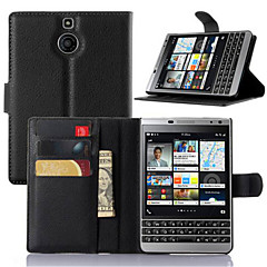 Voor BlackBerry hoesje Kaarthouder / met standaard / Flip hoesje Volledige behuizing hoesje Effen kleur Hard PU-leer voor BlackBerry