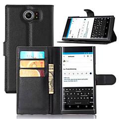 hoesje Voor BlackBerry BlackBerry hoesje Kaarthouder met standaard Flip Volledige behuizing Effen Kleur Hard PU-leer voor