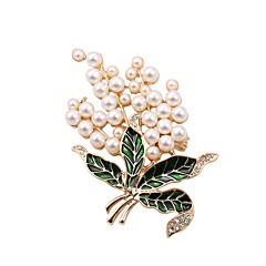 Feminino Pérola Imitação de Pérola Strass Esmalte imitação de diamante Liga Dourado Jóias Casamento Festa Diário Casual