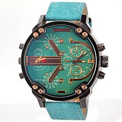 お買い得  メンズ腕時計-JUBAOLI 男性用 軍用腕時計 リストウォッチ クォーツ 2タイムゾーン レザー バンド ハンズ チャーム ブラック / ブルー / グレー - グレー イエロー ライトブルー 1年間 電池寿命 / SSUO LR626