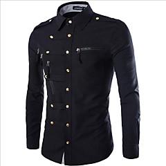 저렴한 남성 셔츠-남성용 솔리드 클래식 카라 슬림 베이직 - 셔츠, 밀리터리 면 / 긴 소매 / 봄 / 가을