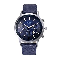 voordelige Bekijk deals-Heren Polshorloge Dress horloge Modieus horloge Kwarts Kalender Leer Band Cool Zwart Wit Blauw