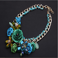 preiswerte Halsketten-Damen Geflochten / Anhängerketten Anhängerketten / Statement Ketten - Blume Luxus Grün, Rosa, Regenbogen Modische Halsketten 1pc Für Party, Besondere Anlässe, Geburtstag
