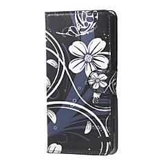 witte bloemen en vlinder patroon portemonnee lederen flip staan geval is met kaartslot voor Microsoft Lumia 650