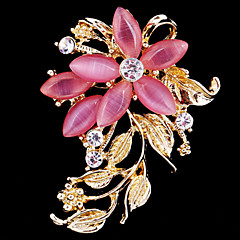 cheap Brooches-Women's Brooches - Crystal, Cubic Zirconia, Opal Flower Party, Work, Casual Brooch White / Pink For Wedding / Party / Special Occasion