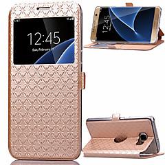 billige Galaxy S6 Etuier-taske til samsung galaxy s8 s8 plus kortholder med vinduer flip hele krops tasker geometrisk mønster pu læder til s7 s7 kant s6 s6 kant plus