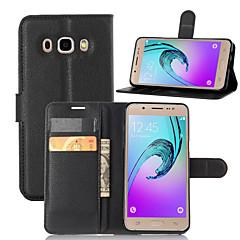 お買い得  Samsung その他の機種用ケース/カバー-ケース 用途 Samsung Galaxy Samsung Galaxy ケース ウォレット / カードホルダー / スタンド付き フルボディーケース ソリッド PUレザー のために J5 (2016)