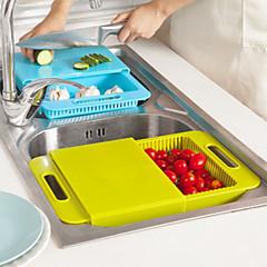 abordables Utensilios para frutas y verduras-tablas de cortar fregadero de la cocina se lavan los platos para lavar cortar con el bloque de la cesta de drenaje de cortar