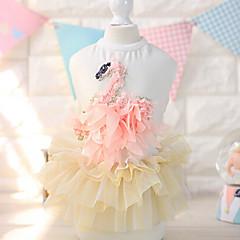 お買い得  犬用ウェア&アクセサリー-ネコ 犬 ドレス 犬用ウェア 花 / 植物 ホワイト ピンク コットン コスチューム ペット用 夏 女性用 ファッション