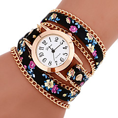 cheap Floral Watches-Women's Bracelet Watch Fashion Watch Quartz Casual Watch PU Band Flower Bohemian Multi-Colored