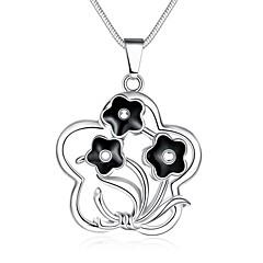Жен. Ожерелья с подвесками Ожерелья-цепочки В форме цветка Геометрической формы Медь Серебрянное покрытие Сердце Мода Бижутерия Назначение